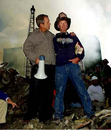 President Bush and Hero Firefighter Bob Beck: An Enduring Image from Ground Zero