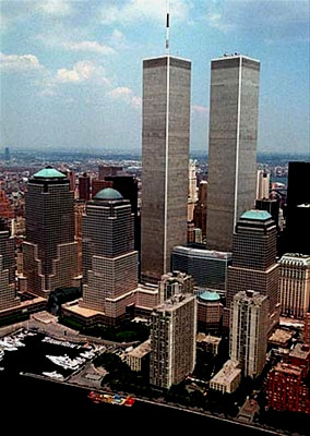 Before the attack: The Twin Towers reach halfway to heaven