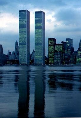 Before the attack: The Twin Towers throw an endless reflection on the water